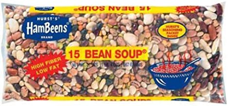 Pack of 4 Hambeens W/Seasoning packet original Dried 15 Bean Soup, 20 oz - High Fiber, Low Fat