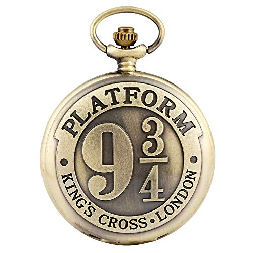 Antieke Bronzen Pocket Horloge voor Mannen, Platform Negen en Drie Quarters Patroon Pocket Horloges voor Meisjes, Utility Slim Chain Hanger Horloge voor Tieners