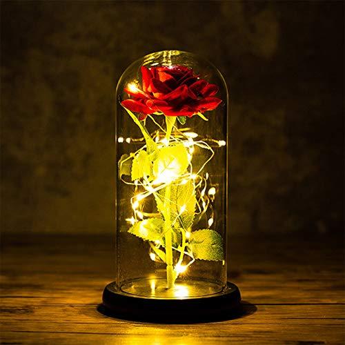 Rose Flower Gift Beauty and The Beast Rose Kit, dura para siempre en una cúpula de cristal, rosa roja artificial con luz LED para el día de la madre, día de San Valentín, boda, aniversario de niña