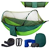 Anxin Camping Hammock with Mosquito Bug Netting,Packable Hammock with Tree Straps and Carabiners,Parachute Nylon Swing Hammock for Backpacking,Survival,Travel & More(Single & Double)-Full Mesh&Green
