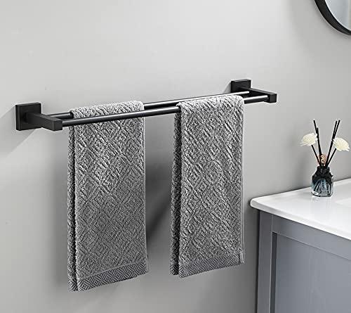 GHFHF Toallero doble para toallero, rieles Sus304 de acero inoxidable para almacenamiento de toallas, color negro mate, con base cuadrada, tornillos de montaje (color: negro, tamaño: 70 cm)