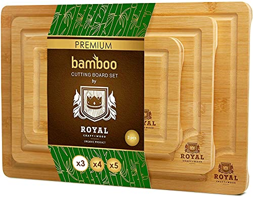 Bamboo Cutting Board with Juice Groove (3-Piece Set) - Kitchen Chopping Board for Meat (Butcher Block) Cheese and Vegetables | Heavy Duty Serving Tray w/Handles