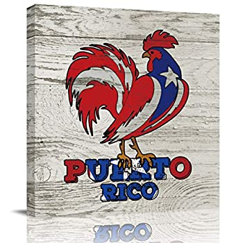 Farm Animals Paintings on Canvas Advanced Printed Wall Pictures Framed Artwork Painting for Living Room Kitchen Hotel Bedroom 16x16 inch Puerto Rican Rooster on Wooden