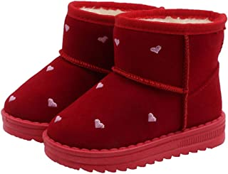Hopscotch Baby Girls Cotton Heart Embroidered Snow Boots - Red
