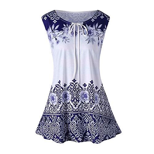 iHENGH Damen Top Bluse Lässig Mode T-Shirt Frühling Sommer Frauen Bequem Blusen Weste Plus Size Printed Tank Tops ärmellose Keyhole(Blau, XL)