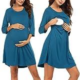 Ekouaer Women's Nursing Dress Breastfeeding Nightgown 3/4 Sleeve Sleepwear(Navy Blue M)