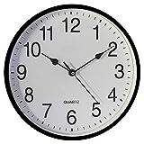 Seglory Orologio da Parete, con numeri, 25 cm, Orologio da Muro al Quarzo con Movimento Silenzioso Sweep, Moderno Decorazione da Parete, per Casa Ufficio Cucina, Plastica, Nero