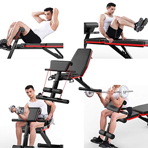 Home Gym Adjustable Weight Bench Foldable Workout Bench, Adjustable Sit Up Incline Abs Benchs Flat Fly Weight Press Fitness (Black)