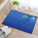 Alfombra de baño Antideslizante, Alfombra baño Microfibra,Medusa Medusa azul Medusa Acuario Vida Animales marinos , Absorbente, Suave y esponjosa, para bañera, Ducha y baño, Lavable a máquina 40x60 cm
