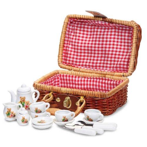 Tobar - 18720 - Petit service à thé décor ourson, dans un joli panier en osier