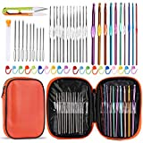 54 Pcs Crochet Needles Set, Crochet Hooks Kit with Storage Case, Ergonomic Knitting Needles Blunt Needles Stitch Marker...