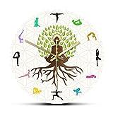 gongyu Lotus Pose Tree Reloj de Pared Decorativo Energía Natural para meditación Arte de la Pared Estudio de Yoga Árbol de la Vida Reloj de Pared Impreso Colorido