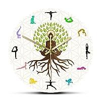 壁掛け時計装飾ステッカーロータスポーズツリー装飾壁掛け時計瞑想のための自然エネルギーウォールアートヨガスタジオ生命の木ショップキッチンに適したカラフルなプリント壁掛け時計