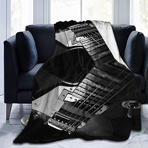 Manta ligera y súper suave para guitarras eléctricas, color blanco y negro, para sofá, cama, sala de estar, sofá, silla, 152 x 127 cm