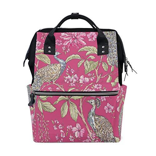 FANTAZIO Mummy Bag Backpack Peacock Pink Pattern School Bag