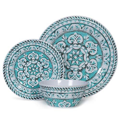 Melamine Dinnerware Set - 12pcs Dinnerware Dishes Set for Everyday Use, Dishwasher safe, Service for 4, Green