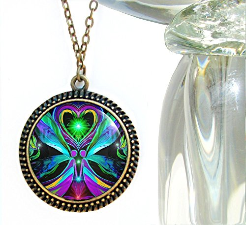 Large Twin Flame Necklace, Angel Pendant, Wearable Art 'Unconditional Love'