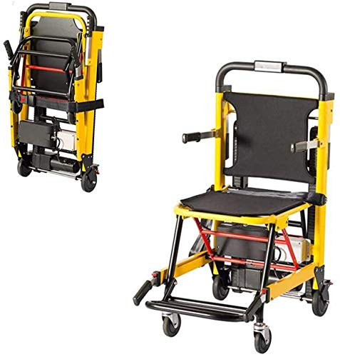 Elektrorollstuhl Elektrische Treppensteigen Rollstuhl, Leichte Faltbare Treppe Tragbahre, Intelligent Treppensteigen Automatische Unterstützt 120Kg, for senioren Gelb Bequemes und sicheres Reisen