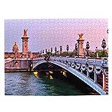 Francia Puente Alexandre III Paris Rompecabezas para Adultos, 500 Piezas de Madera, Regalo de Viaje, Recuerdo, 20.4 x 15 Pulgadas