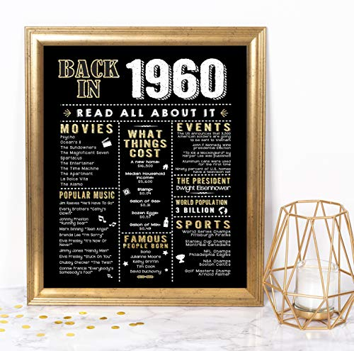Katie Doodle 61st Birthday Party Decorations Supplies Anniversary Card Gifts for Men Women Turning 61 Years Old - Includes 8x10 Back in 1960 Print [Unframed], Black and Gold