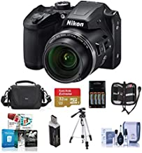 Nikon Coolpix B500 Digital Point & Shoot Camera, Black - Bundle with Camera Bag, 4 AA Rechargeable Batteries with Charger, 32GB Class 10 SDHC Card, Cleaning Kit, Tripod, Software Package, and More
