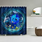 Sevendec Dolphin Tropical Fish Waterproof Shower Curtain Bathroom Undersea Cave Animal 3D Print Decor Shower Curtain with Hooks Blue W71 x L71