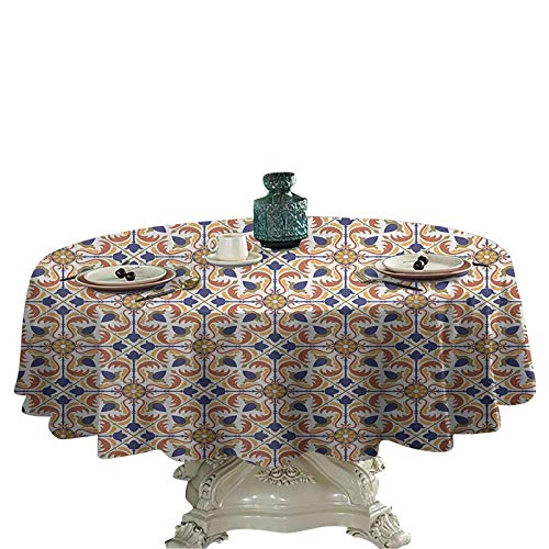 Moroccan Table Cover Round Traditional Mosaic Tile Motif with Old Fashioned Floral Arabesque Scroll Design Round Table Cover 36 inch