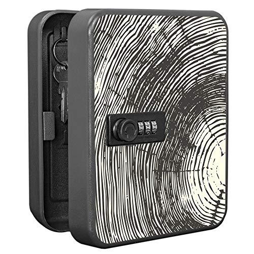 banjado Burg-Wächter abschließbarer Schlüsselkasten mit Motiv Fingerabdruck | Schlüsselbox mit Zahlenschloss | für 20 Schlüssel | Stahlblech schwarz 20x16x7,4cm groß