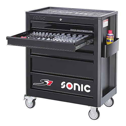 Sonic Equipment Werkstattwagen S7 gefüllt 140 Teile schwarz