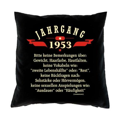Kussensloop - jaargang 1953 - Maak geen opmerkingen over - voor 62e verjaardagscadeau - 40 x 40 cm - 100% katoen in zwart :)