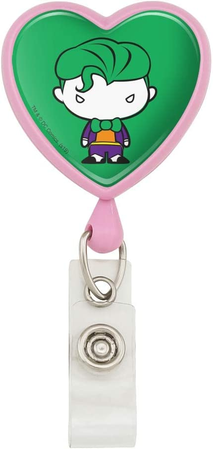 Batman Joker Cute Chibi Character Heart Lanyard Retractable Reel Badge ID Card Holder
