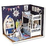 Cuteroom DIY Holzpuppen Haus Handwerk Miniatur Kit-Boy Schlafzimmer Modell & alle Möbel -
