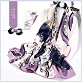 100% Mulberry Silk Scarfs for Women - Lightweight Floral Pattern Satin for Headscarf&Neck with Gift Box Package