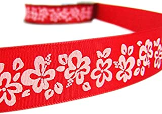 10 Yds Red Off White Hibiscus Flower Tropical Ribbon Lace Trim Embroidery Applique Fabric Delicate DIY Art Craft Supply for Scrapbooking Gift Wrapping 7/8