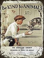 動物の少年猫 金属板ブリキ看板警告サイン注意サイン表示パネル情報サイン金属安全サイン