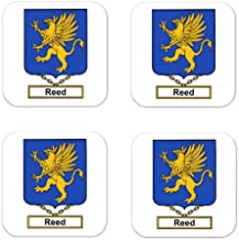 Reed Family Crest Square Coasters Coat of Arms Coasters - Set of 4