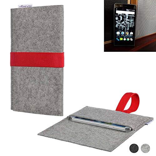 flat.design Handy Hülle Aveiro für Kodak Ektra maßgeschneiderte Handytasche Filz Tasche Sleeve Pouch Grau rot