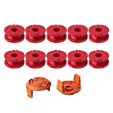 Thten Replacement Trimmer Spool Line for Worx WA0010 WG180 WG163 Weed Wacker Spool with WA6531 GT Spool Cover 50006531 String Trimmer Refills 10ft 0.065' 12Pack (10 Spools, 2 Trimmer Cap)