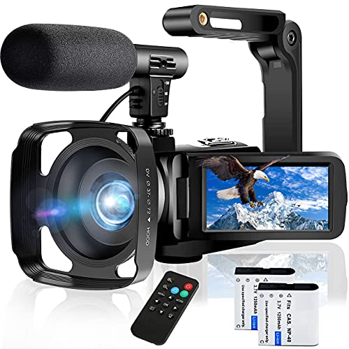 Video Camera Camcorder, 2.7K Ultra HD 30MP Vlogging Camera for YouTube IR Night Vision 3.0 Inch Touch Screen 16X Digital Zoom Camera Recorder with Microphone,Handheld Stabilizer,Les Hood