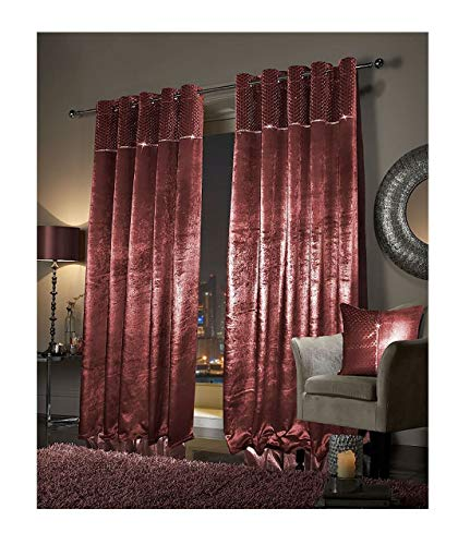 Rimi Hanger Eye Catching Faux Velvet Paloma Curtains Fully Lined with Eyelet & Cushion Cover Red (66X90 Inches)