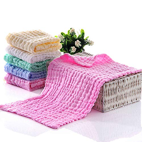 BELIZ - 100% Organic Cloth Diapers Muslin Baby Burp Cloths 10 to 20 Large 5 in a Pack 6 Layers Cotton Washcloths Extra Absorbent and Soft Unisex