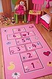 The Rug House Tapetes Coloridos y Brillantes, con Juego de rayuela/golosa. para niñas. En...