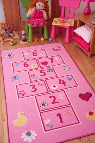 The Rug House Tapetes Coloridos y Brillantes, con Juego de rayuela/golosa. para niñas. En Rosa/Rosado 80x150cm