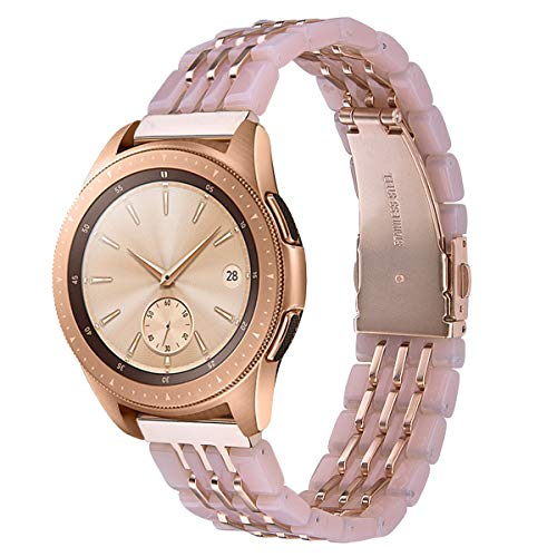 CAGOS Compatible with Samsung Galaxy Watch 42mm/Galaxy Watch Active 2 40mm/44mm Band, Stylish Lightweight Resin Replacement Straps Wristband Bracelet for Ticwatch E Smartwatch-Pink