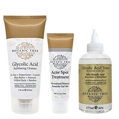 Botanic Tree 3-Step Acne Treatment System -Natural Extracts Acne Spot Treatment Bundle with Face Wash Exfoliating Cleanser,Anti Acne Toner,Acne Scar Treatment Gel-Complete Adult Body Acne Products Kit