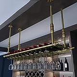 YHYZ Estante del Vino del Techo Soporte de Copa de Vino Colgante Botelleros armarios para Vino Goblets Rack Salón de Bar Decoración Vino Estante decoración Oro_120 * 30cm