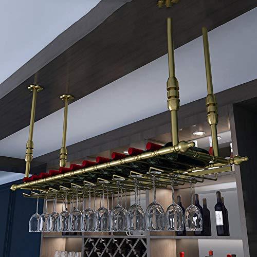Estante del Vino del Techo Soporte de Copa de Vino Colgante Botelleros armarios para vino Goblets Rack Salón de Bar Decoración Vino estante decoración oro_120 * 30cm