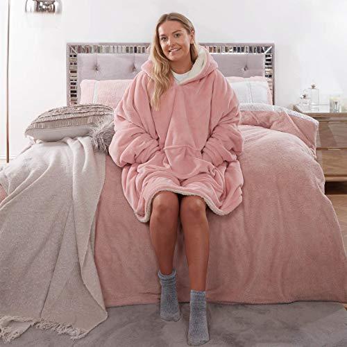 Sienna Hoodie Blanket Ultra Soft Sherpa Fleece Warm Cosy Comfy Oversized Wearable Giant Sweatshirt Throw for Women Girls Adults Men Boys Kids Big Pocket - Blush Pink
