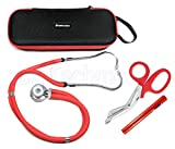 ASATechmed Sprague Rappaport Stethoscope Dual Head Adult + Free Lightweight Storage Case, Matching EMT Shear and Penlight Ideal Gift for Medical Students, Doctors, Nurses, EMT and Paramedics (Red)