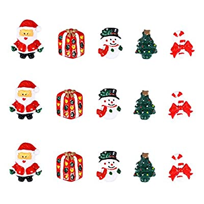 Ultnice 15 Miniature Resin Christmas Figurines - Snowman ,Santa Claus, Christmas Tree, Candy Cane - Christmas Accessories